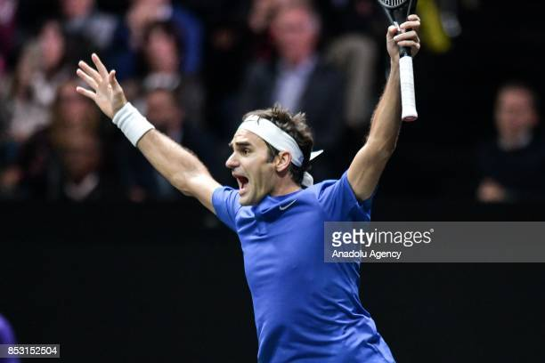 Switzerland's Roger Federer of the Team Europe celebrates after winning his match against Australia's Nick Kyrgios of the Team World during the Laver...
