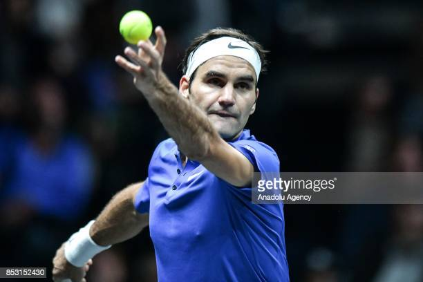Switzerland's Roger Federer of the Team Europe in action against Australia's Nick Kyrgios of the Team World during the Laver Cup in Prague Czech...