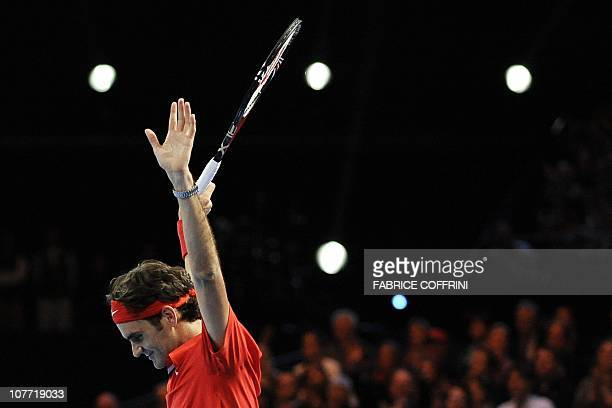Switzerland's Roger Federer reacts after he won against Spain's Rafael Nadal during a charity tennis game on December 21 2010 in Zurich The Match for...