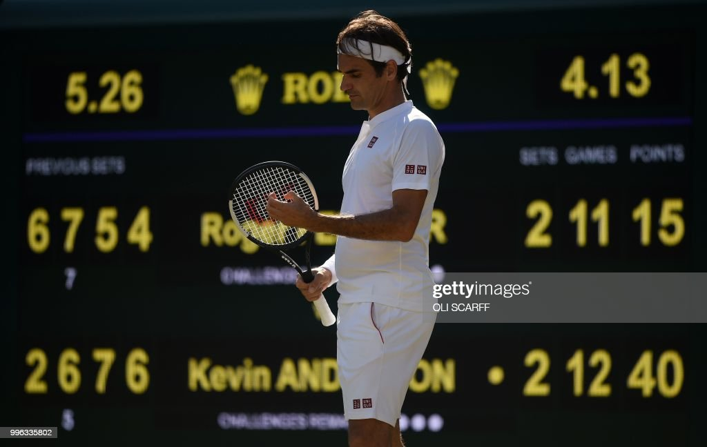 TOPSHOT - Switzerland's Roger Federer reacts as he plays South Africa's Kevin Anderson in their men's singles quarter-finals match on the ninth day of the 2018 Wimbledon Championships at The All England Lawn Tennis Club in Wimbledon, southwest London, on July 11, 2018. (Photo by Oli SCARFF / AFP) / RESTRICTED