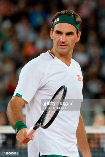 Switzerland's Roger Federer reacts during their tennis match at The Match in Africa at the Cape Town Stadium in Cape Town on February 7 2020