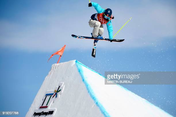 TOPSHOT Switzerland's Sarah Hoefflin competes in the women's ski slopestyle final run 2 during the Pyeongchang 2018 Winter Olympic Games at the...