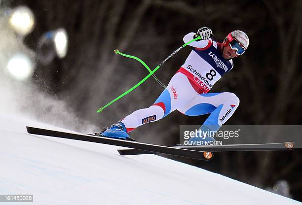 Switzerland's Silvan Zurbriggen takes part in the downhill event during the men's super combined at the 2013 Ski World Championships in Schladming...