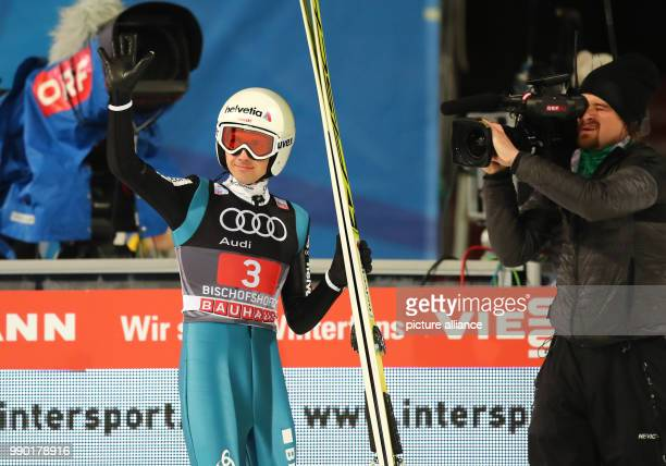Switzerland's Simon Ammann reacts to his jump in the second round at the Four Hills Tournament in Bischofshofen Austria 6 January 2018 Photo Daniel...