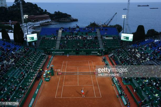 Switzerland's Stan Wawrinka plays a return to Italy's Marco Cecchinato during their tennis match on the day 4 of the Monte-Carlo ATP Masters Series...