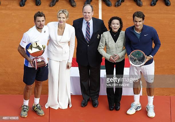 Switzerland's Stanislas Wawrinka, Princess Charlene of Monaco, Prince's Albert II of Monaco, Elisabeth Anne De Massy and Switzerland's Roger Federer...