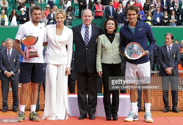 Switzerland's Stanislas Wawrinka Princess Charlene of Monaco Prince's Albert II of Monaco Elisabeth Anne De Massy and Switzerland's Roger Federer...