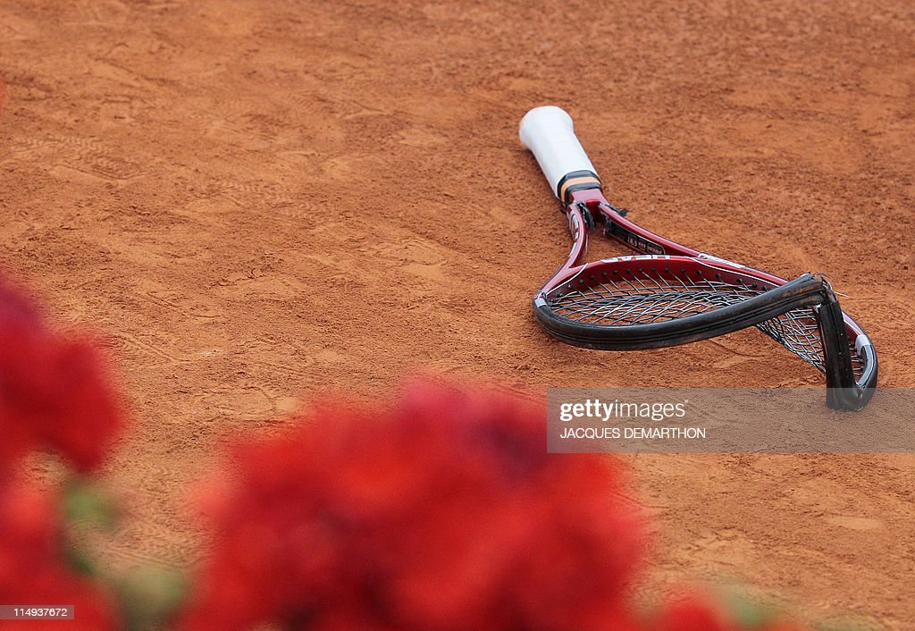 Switzerland's Stanislas Wawrinka's broken racket is displayed during his match against France's Jo-Wilfried Tsonga during the French Open tennis championship at the Roland Garros stadium, on May 27, 2011, in Paris.