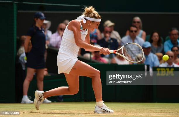 Switzerland's Timea Bacsinszky returns against Poland's Agnieszka Radwanska during their women's singles third round match on the sixth day of the...