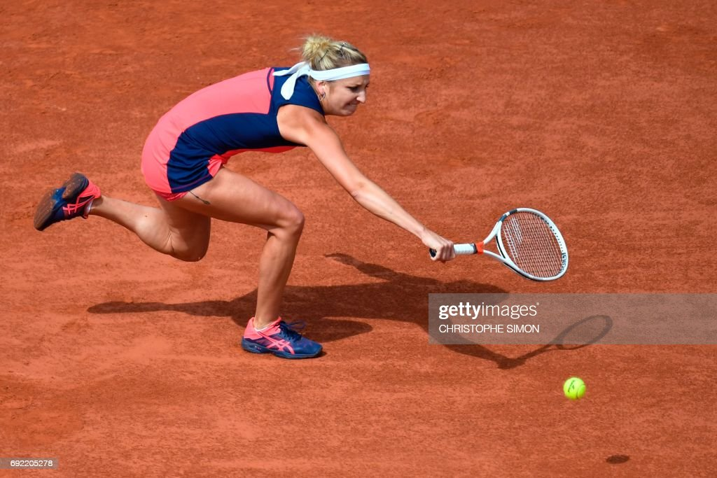 Switzerland's Timea Bacsinszky returns the ball to US Venus Williams during their tennis match at the Roland Garros 2017 French Open on June 4, 2017 in Paris. /