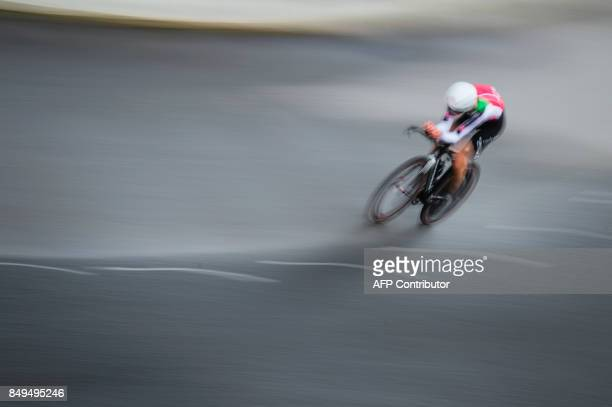 TOPSHOT Switzerland's Valere Thiebaud competes during the men's junior individual time trial at the UCI Cycling Road World Championships on September...