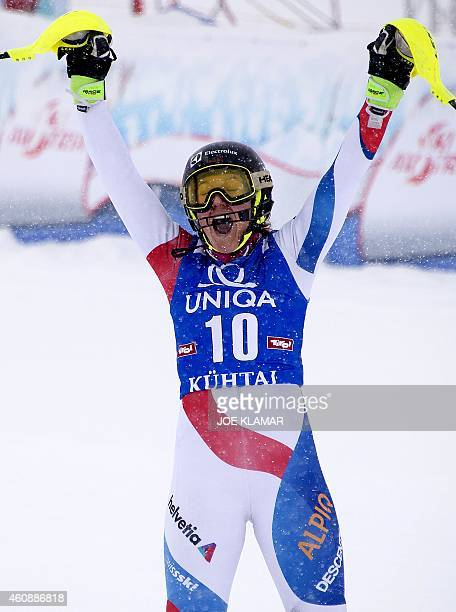 Switzerland's Wendy Holdener celebrates her third place during the Women's Slalom during the FIS Ski World cup in Kuehtai Austria on December 29 2014...