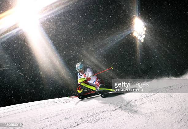 Switzerland's Wendy Holdener competes during her 1st Round of the FIS Alpine Ski Women's Slalom World Cup event on January 12 in Flachau Austria. /...