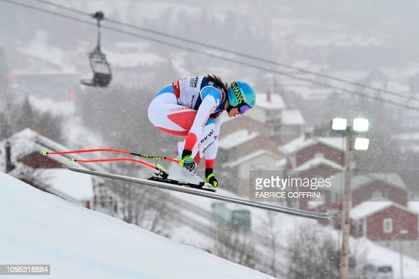 Switzerland's Wendy Holdener competes during the Women's Combined Downhill event of the 2019 FIS Alpine Ski World Championships at the National Arena...