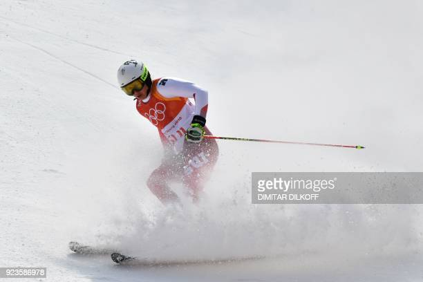 Switzerland's Wendy Holdener competes in the Alpine Skiing Team Event big final at the Jeongseon Alpine Center during the Pyeongchang 2018 Winter...