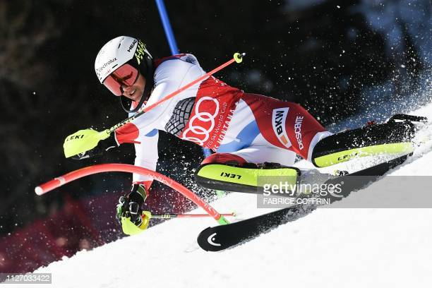 Switzerland's Wendy Holdener competes in the Slalom race of the Women's Alpine Combined competition during the FIS Alpine Ski World Cup on February...