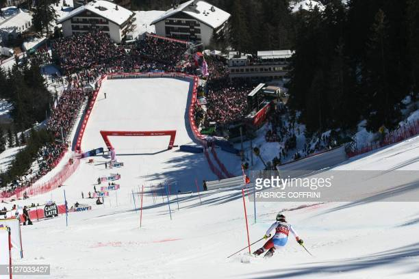 Switzerland's Wendy Holdener competes in the Slalom race of the Women's Alpine Combined competition during the FIS Alpine Ski World Cup, on February...
