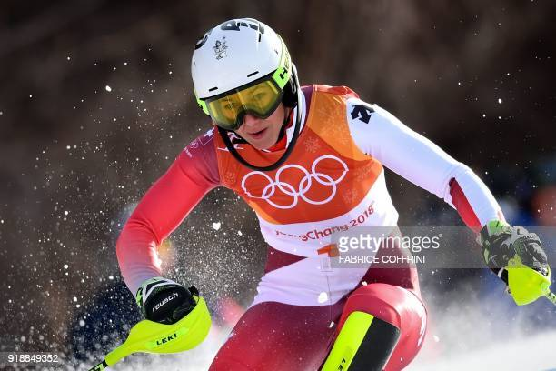 Switzerland's Wendy Holdener competes in the Women's Slalom at the Jeongseon Alpine Center during the Pyeongchang 2018 Winter Olympic Games in...