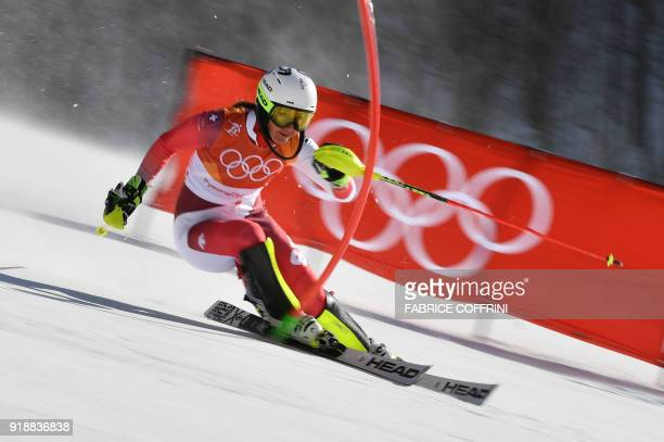 Switzerland's Wendy Holdener competes to win silver in the Women's Slalom at the Jeongseon Alpine Center during the Pyeongchang 2018 Winter Olympic...