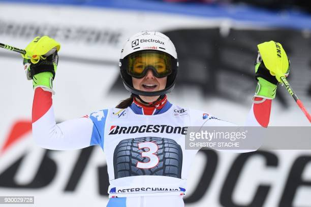 Switzerland's Wendy Holdener reacts after competing in the FIS World Cup Women's Slalom event in Ofterschwang southern Germany on March 10 2018 / AFP...