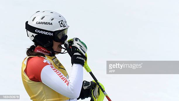 Switzerland's Wendy Holdener reacts after her final race of the FIS World Cup Women's Slalom competition in Ofterschwang southern Germany on March 10...