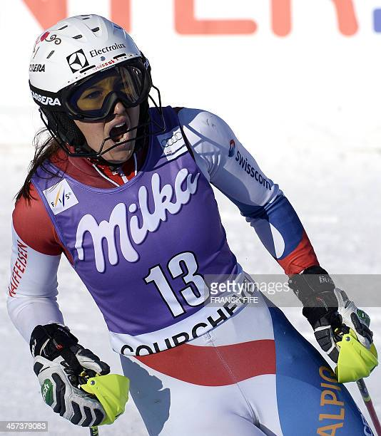 Switzerland's Wendy Holdener reacts after taking the 9th place in the finish area of the women's slalom at the FIS Ski World Cup on December 17 2013...