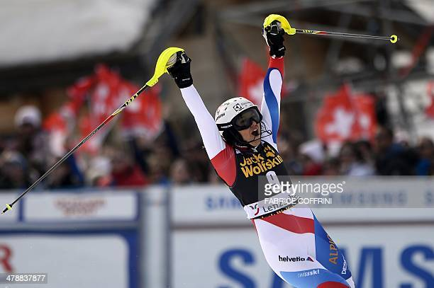 Switzerland's Wendy Holdener reacts after the FIS Women's alpine skiing World Cup Slalom finals on March 15 in Lenzerheide AFP PHOTO / FABRICE...