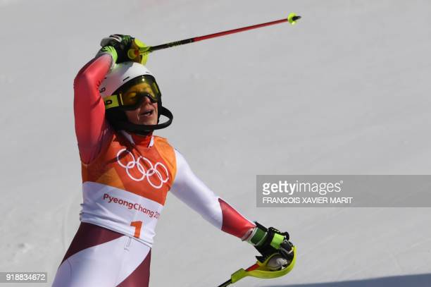 Switzerland's Wendy Holdener reacts as she wins silver in the Women's Slalom at the Jeongseon Alpine Center during the Pyeongchang 2018 Winter...