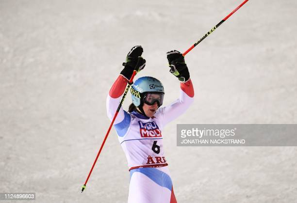 Switzerland's Wendy Holdener reacts in the finish area after the second run of the Women's Giant slalom event at the 2019 FIS Alpine Ski World...