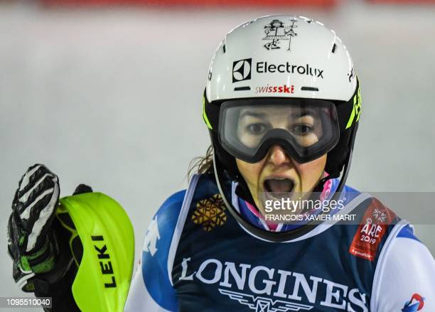 Switzerland's Wendy Holdener reacts in the finish area during the Women's Combined Slalom event of the 2019 FIS Alpine Ski World Championships at the...