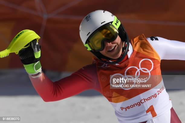 Switzerland's Wendy Holdener reacts to winning silver after competing in the Women's Slalom at the Jeongseon Alpine Center during the Pyeongchang...