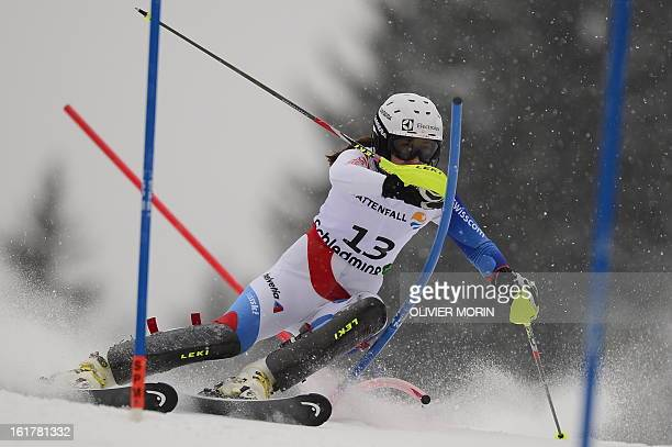 Switzerland's Wendy Holdener skis during the first run of the women's slalom at the 2013 Ski World Championships in Schladming Austria on February 16...