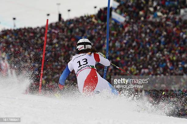Switzerland's Wendy Holdener skis during the second run of the women's slalom at the 2013 Ski World Championships in Schladming Austria on February...