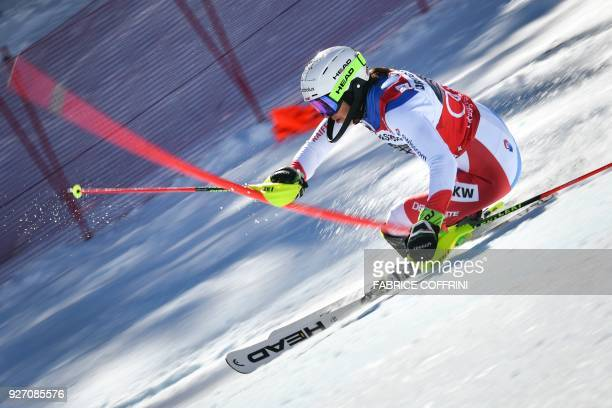 Switzerland's Wendy Holdener the overall leader competes in the slalom race during the Women's Alpine combined at the FIS Alpine Ski World Cup on...