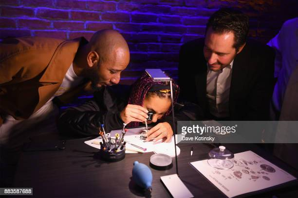 Swizz Beatz Alicia Keys and CEO of Zenith Julien Tornare attend as Zenith Watches and Swizz Beatz celebrate the launch of The Defy Collection at the...