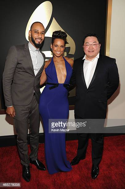 Swizz Beatz Alicia Keys and Owner EMI Music Publishing and Chairman EMI Music Publishing Asia Jho Low attend the 56th GRAMMY Awards at Staples Center...