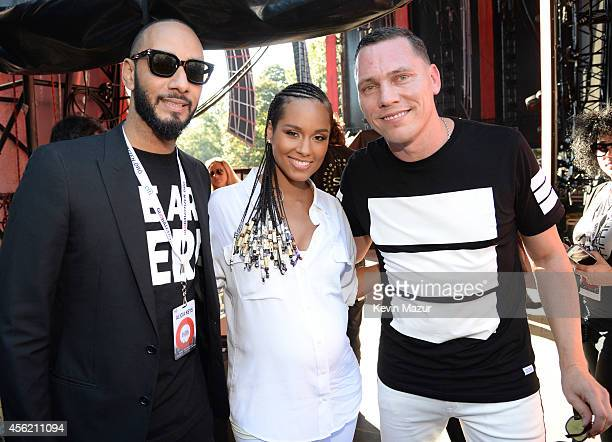 Swizz Beatz Alicia Keys and Tiesto attend the 2014 Global Citizen Festival to end extreme poverty by 2030 at Central Park on September 27 2014 in New...