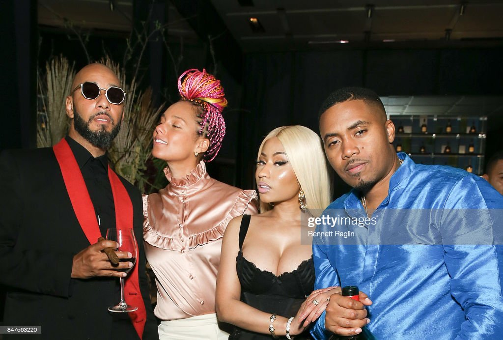 Swizz Beatz, Alicia Keys, Nicki Minaj and Nas attend hip hop artist Nas' private birthday dinner, presented by Hennessy, the world's best-selling Cognac, at The Pool Lounge in New York City on September 13, 2017. Hennessy celebrates artists such as Nas who continue to push the limits of potential to 'Never stop. Never settle.' Guests enjoyed a variety of Hennessy cocktails including Nas' signature drink - The Big Apple, along with a classic V.S.O.P Privilége Sazerac and X.O on ice.