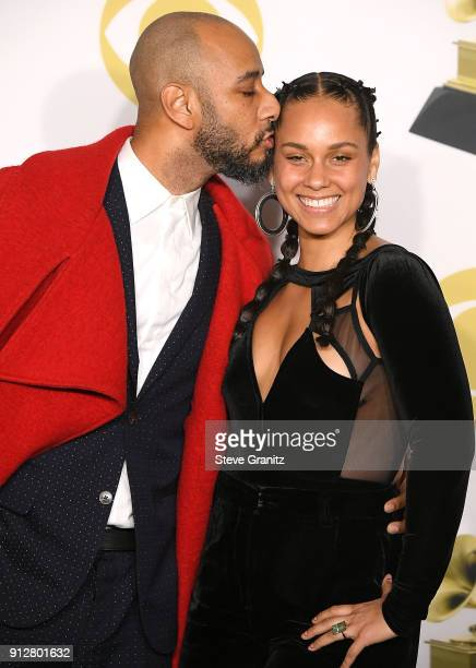 Swizz Beatz Alicia Keys poses at the 60th Annual GRAMMY Awards at Madison Square Garden on January 28 2018 in New York City