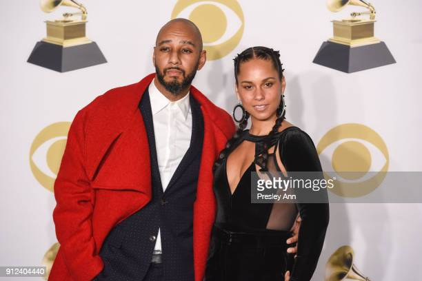 Swizz Beatz and Alicia Keys attend 60th Annual GRAMMY Awards Press Room at Madison Square Garden on January 28 2018 in New York City