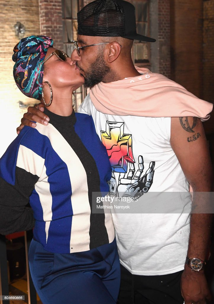 Swizz Beatz and Alicia Keys pose at Bacardi X The Dean Collection Present: No Commission on June 30, 2017 in Berlin, Germany.