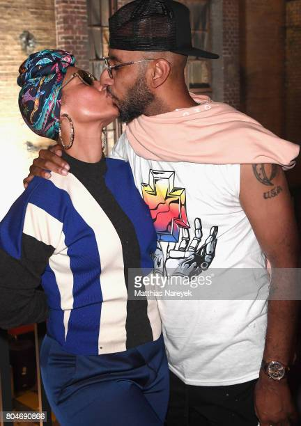 Swizz Beatz and Alicia Keys pose at Bacardi X The Dean Collection Present No Commission on June 30 2017 in Berlin Germany