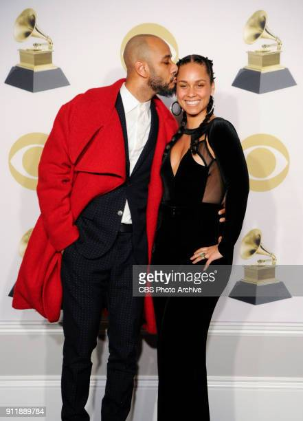 Swizz Beatz and Alicia Keys pose for a photo at THE 60TH ANNUAL GRAMMY AWARDS broadcast live on both coasts from New York City's Madison Square...