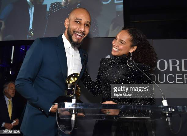 Swizz Beatz and Alicia Keys speak onstage during the Producers and Engineers Wing 11th Annual GRAMMY Week event honoring Swizz Beatz and Alicia Keys...
