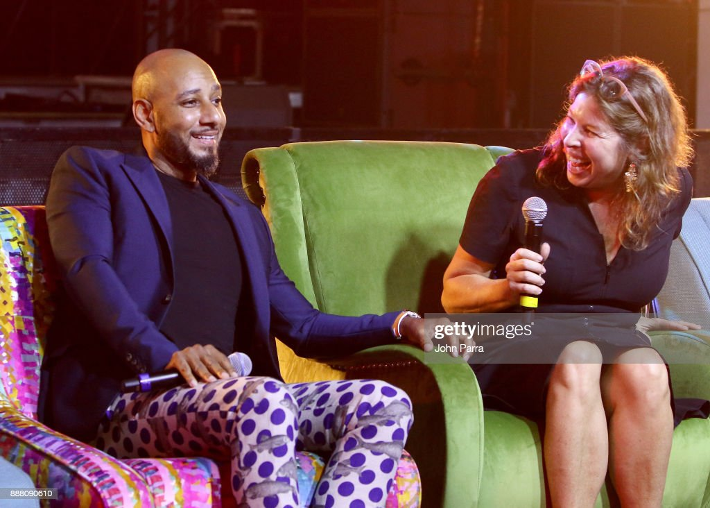 Swizz Beatz and Anne Pasternak speak onstage as part of the 'Future of Art' panel discussion during the VIP Preview of BACARDI, Swizz Beatz And The Dean Collection Bring NO COMMISSION Back To Miami To Celebrate 'Island Might' at Soho Studios on December 7, 2017 in Miami, Florida.