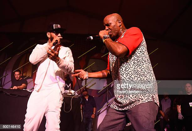 Swizz Beatz and DMX perform on stage at The Dean Collection X BACARDI Untameable House Party Day 3 on December 5 2015 in Miami Beach Florida