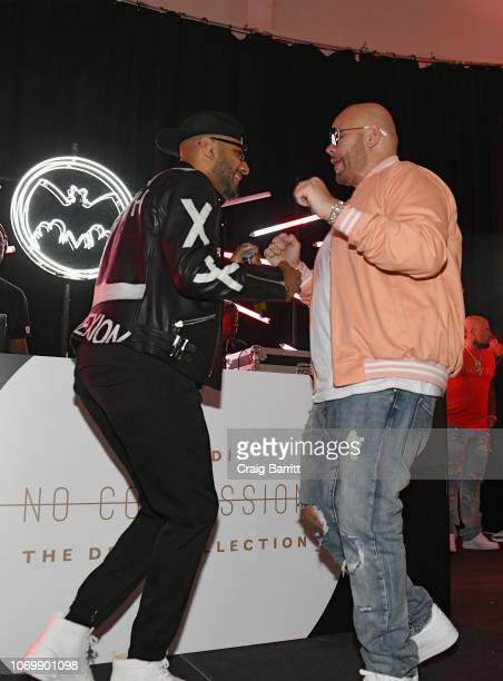 Swizz Beatz and Fat Joe perform on stage at No Commission: Miami presented by BACARDÍ x The Dean Collection on December 7, 201 at Faena Forum on...