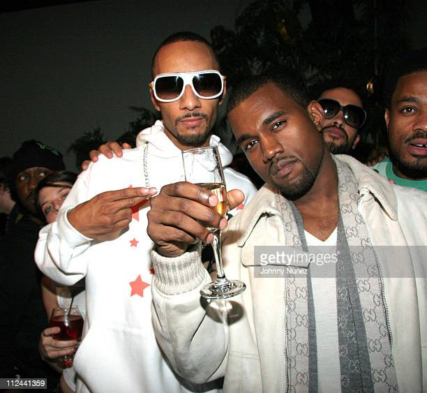 Swizz Beatz and Kanye West during Hennessy Presents Kanye West Platinum Party November 2 2005 at TBD in New York City New York United States