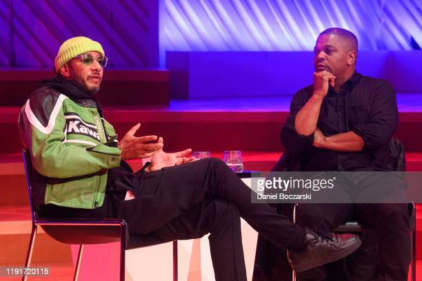 Swizz Beatz and Kehinde Wiley speak on stage during Creative Minds Talks at New World Center on December 02, 2019 in Miami Beach, Florida.