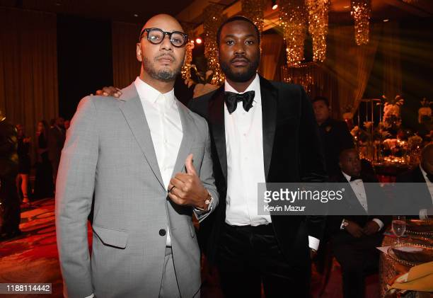 Swizz Beatz and Meek Mill attend the Shawn Carter Foundation Gala at Hard Rock Live in the Seminole Hard Rock Hotel Casino on November 16 2019 in...